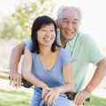 Mature couple bike riding