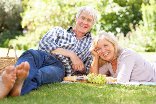 senior couple on a picnic